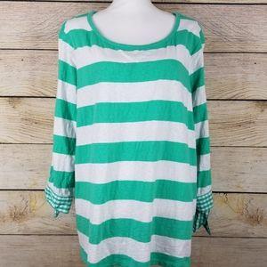 Crown & Ivy Curvy green cabana stripe tunic top